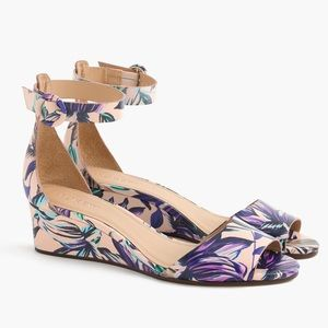 J. Crew Floral Leather Ankle Strap Demi Wedge